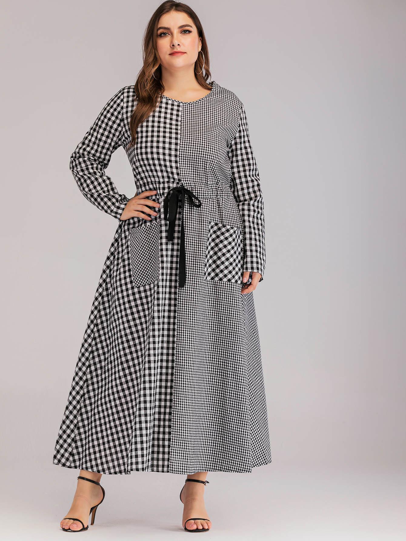Фото - Платье в клетку на кулиске с карманом размера плюс от SheIn цвет чёрнобелые