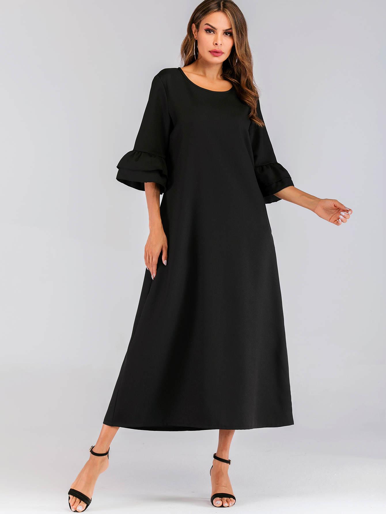 Фото - Длинное платье с многослойными рукавами от SheIn цвет чёрные