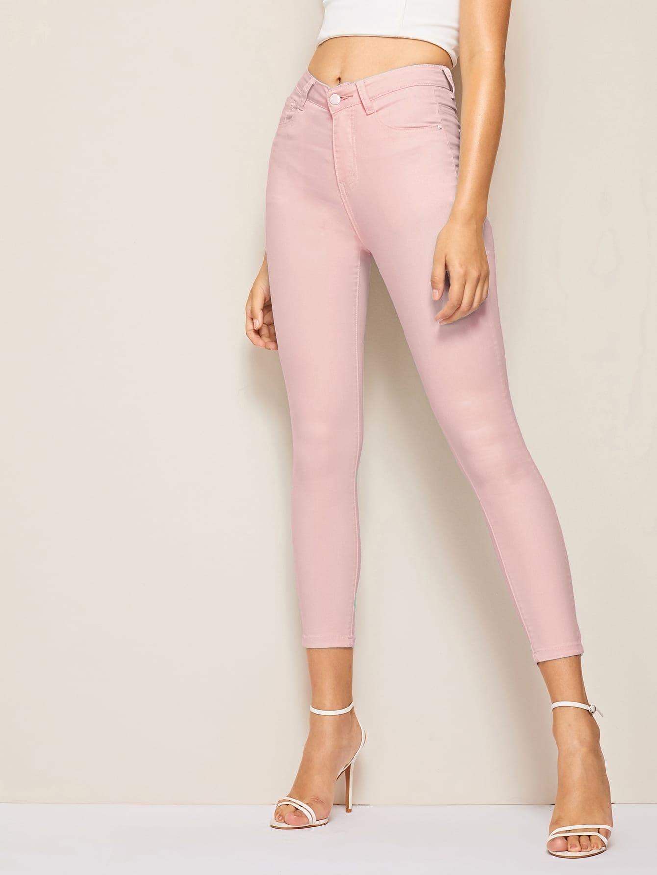 Фото - Облегающие однотонные джинсы от SheIn розового цвета