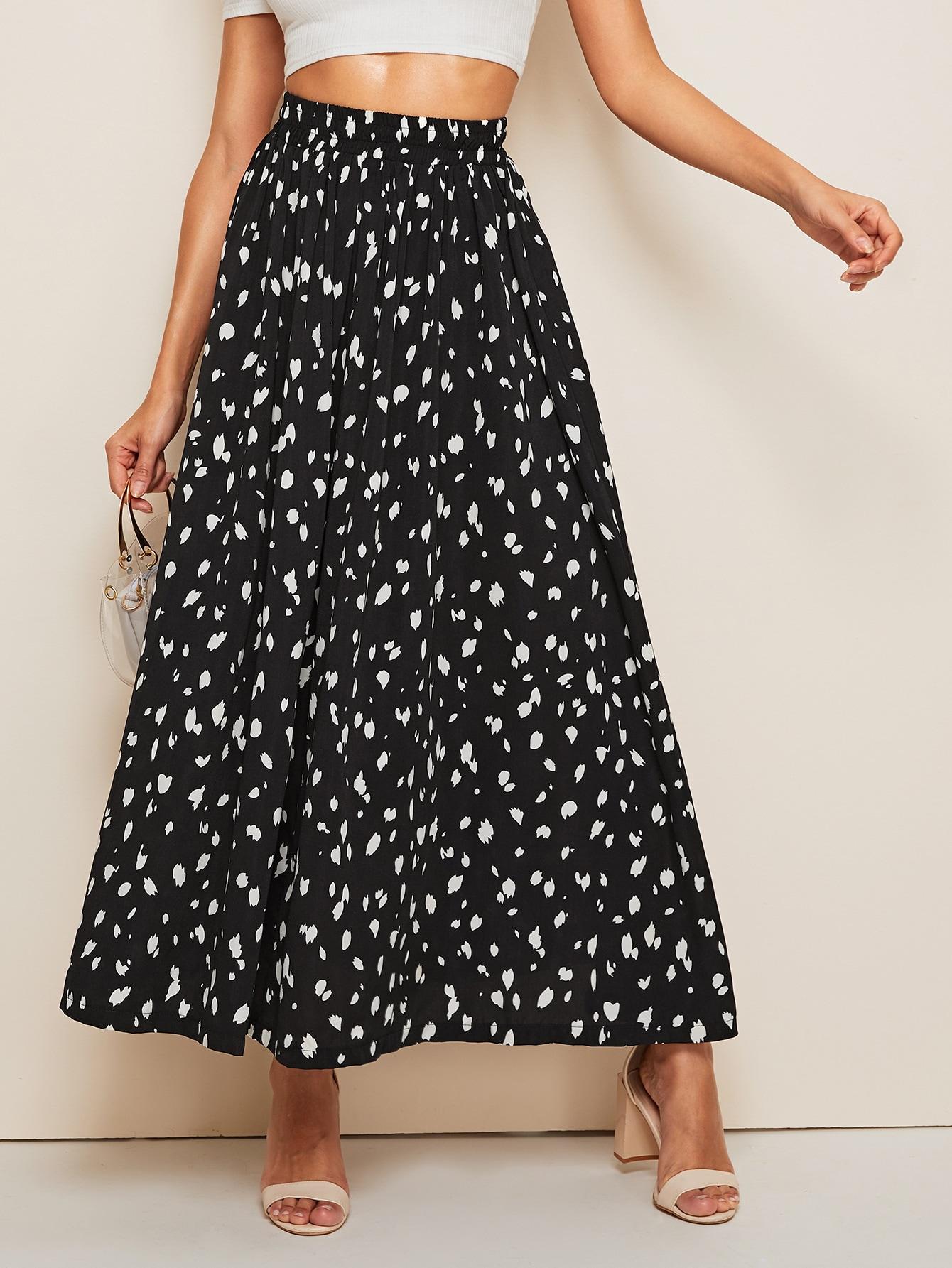 Фото - Расклешенная юбка с эластичной талией и принтом от SheIn цвет чёрнобелые