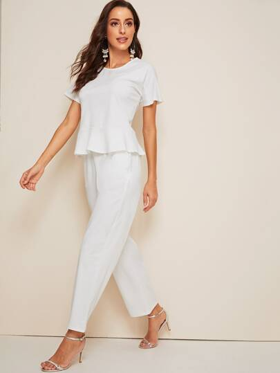 Ruffle Hem Top & Wide Leg Pants