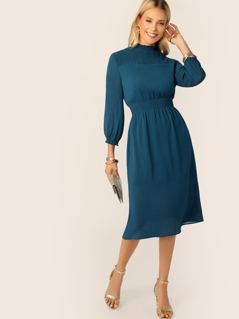 Frill Neck Shirred Yoke and Waist Dress
