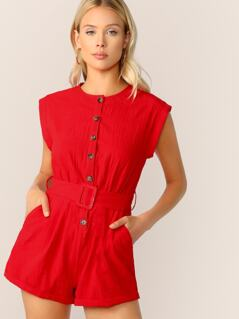 Button Front Buckle Belted Romper