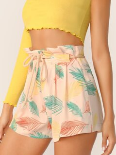 Leaves Print Paperbag Waist Shorts