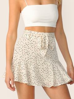 Allover Print Self Belted Skort