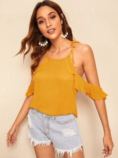 Tassel Tie Shoulder Cold Shoulder Ruffle Trim Top