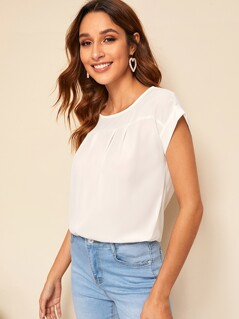 Cap Sleeve Round Neck Blouse