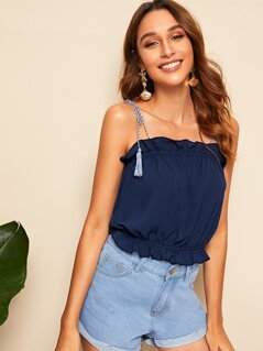 Ruffle Trim Top With Tie Strappy