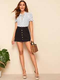 Tie Neck Polka Dot Top