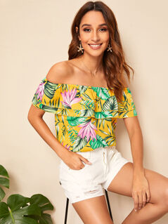 Off Shoulder Layered Foldover Front Tropical Print Top