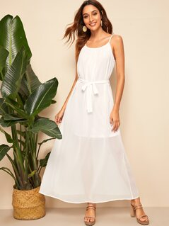 Semi Sheer Self Belted Cami Dress