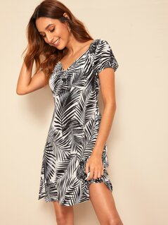 Ruched Front Sweetheart Neck Tropical Dress