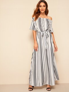 Strip And Dot Print Off Shoulder Maxi Dress