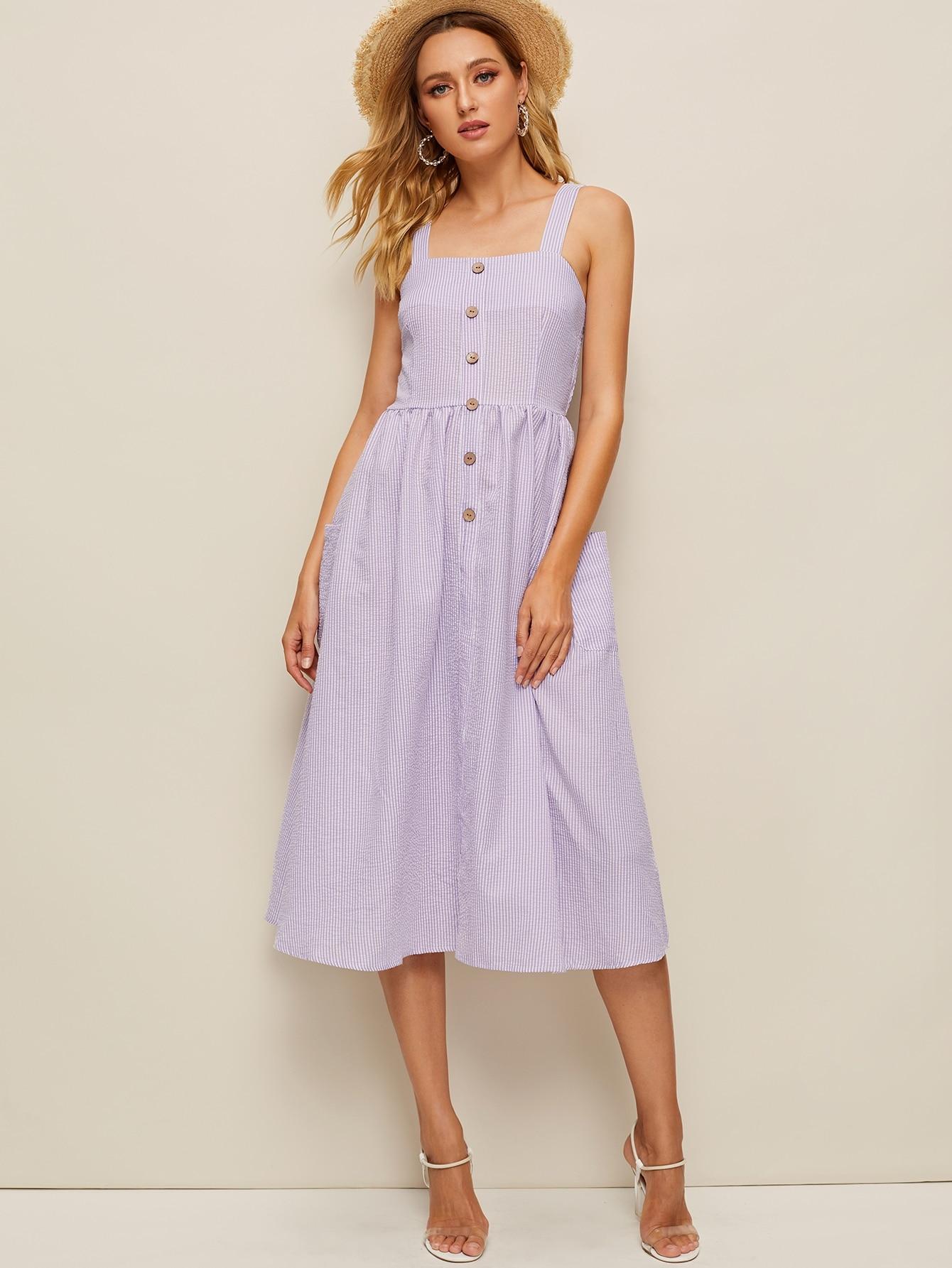 Фото - Полосатое платье без рукавов с пуговицами и карманом от SheIn цвет фиолетовые