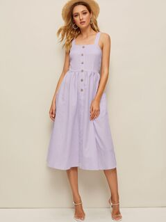 Buttoned Pocket Patched Shirred Back Striped Tank Dress