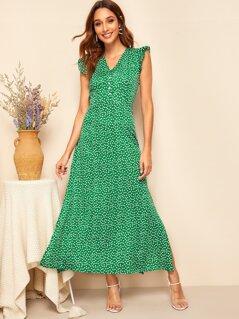 Ditsy Floral Ruffle Armhole Side Split Maxi Dress