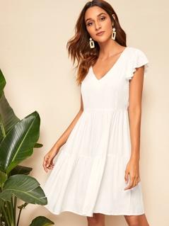 Flutter Sleeve Ruffle Hem Solid Dress
