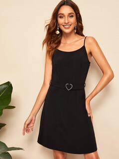 Self Heart-ring Belted Cami Dress