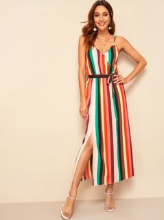 Split Side Wrap Belted Colorful Striped Cami Dress