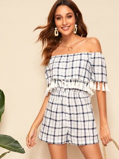 Tassel Detail Foldover Off Shoulder Plaid Bardot Romper