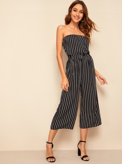 Wide Leg Striped Tube Jumpsuit