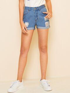 Ripped Detail Slant Pocket Cuffed Denim Shorts