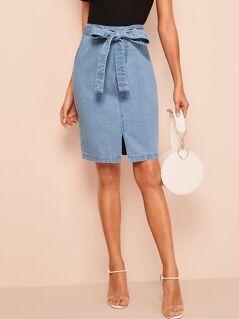 Slit Front Belted Denim Skirt