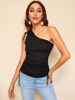 One Shoulder Drawstring Detail Fitted Top