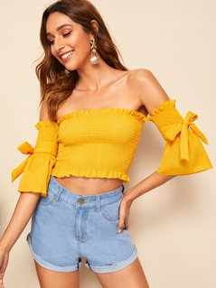 Tie Sleeve Ruffle Trim Shirred Top