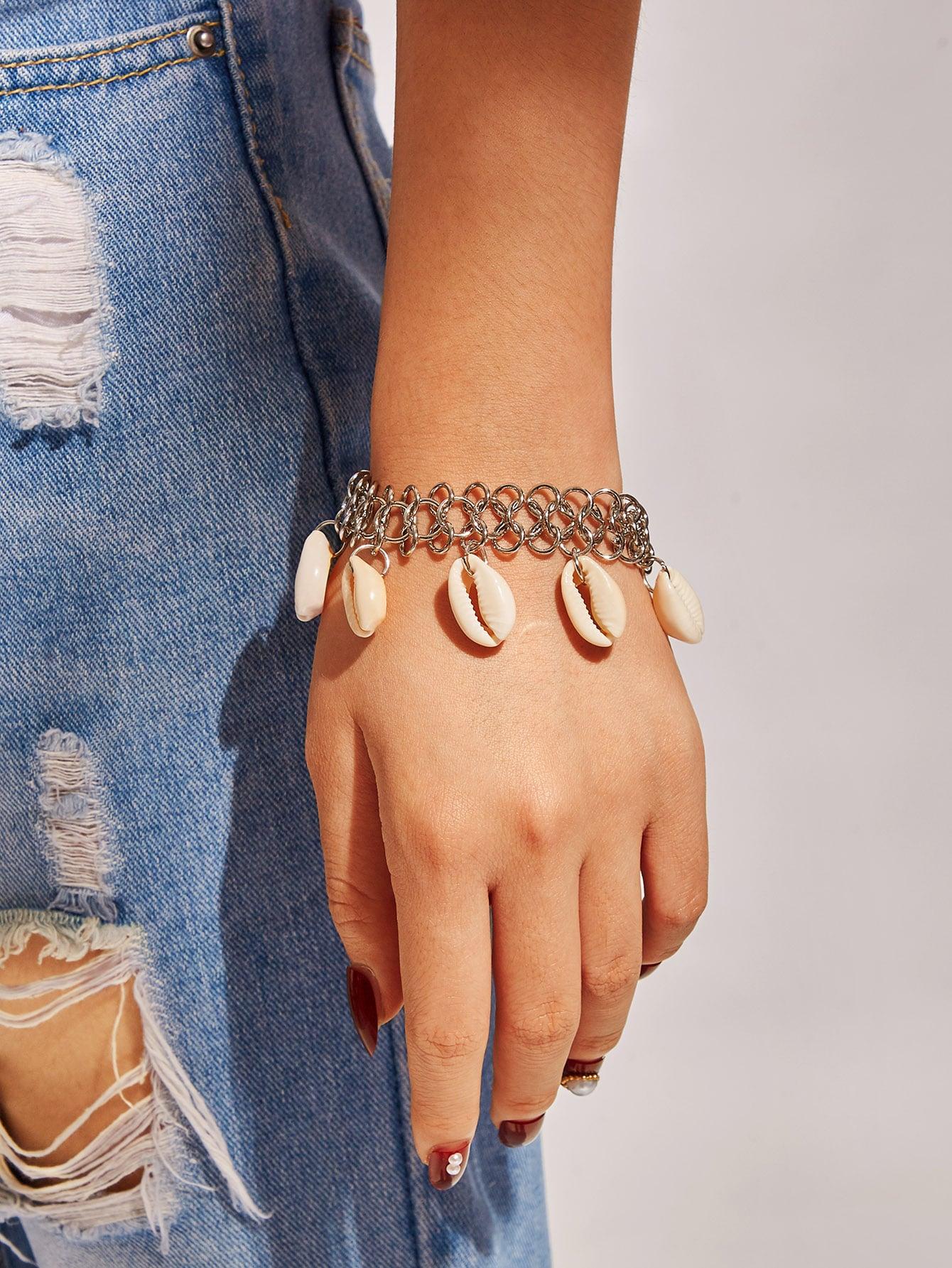 Фото - Браслет-цепочка с ракушками 1 шт. от SheIn цвет серебряные