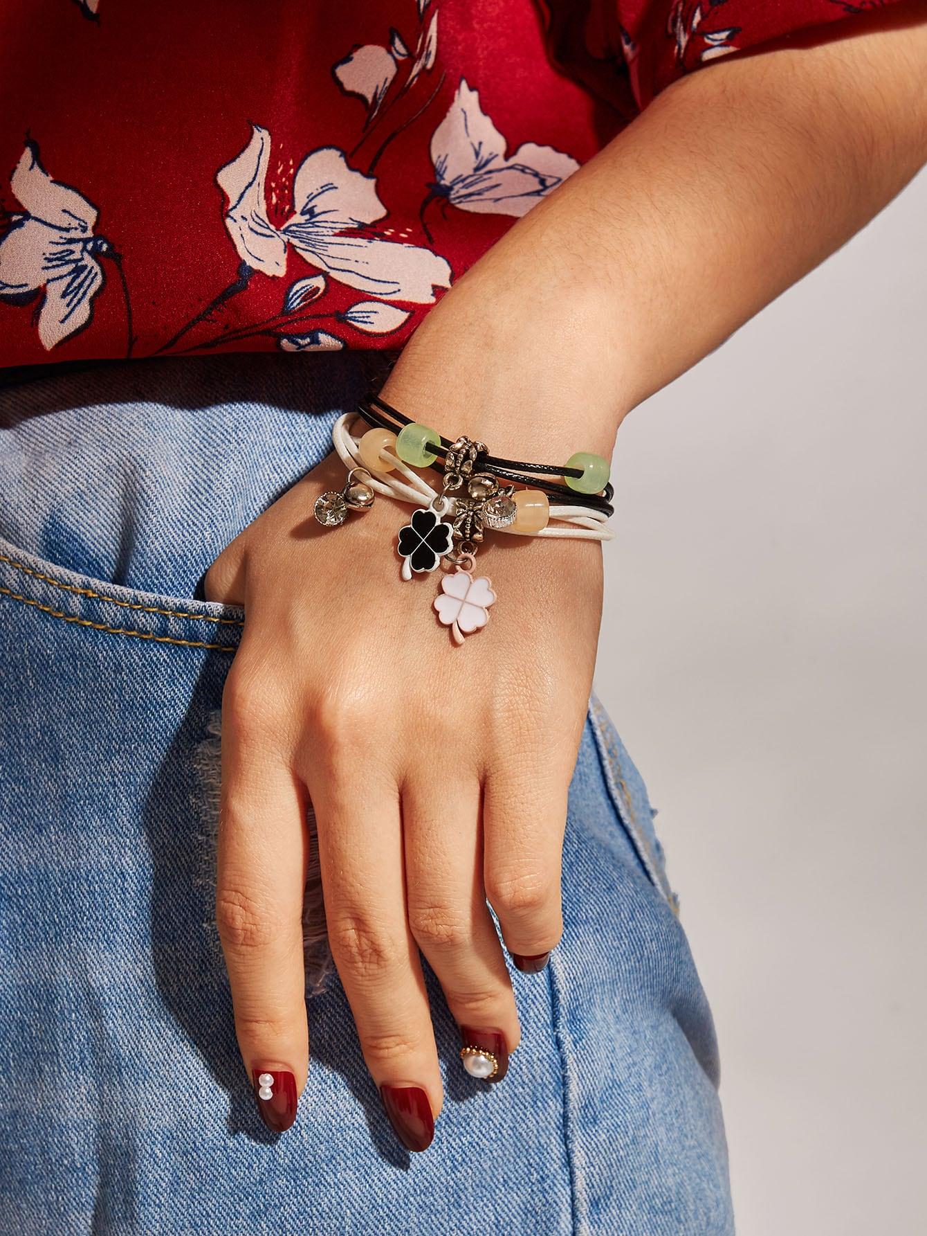 Фото - Модный многослойный браслет 2шт. от SheIn цвет серебряные