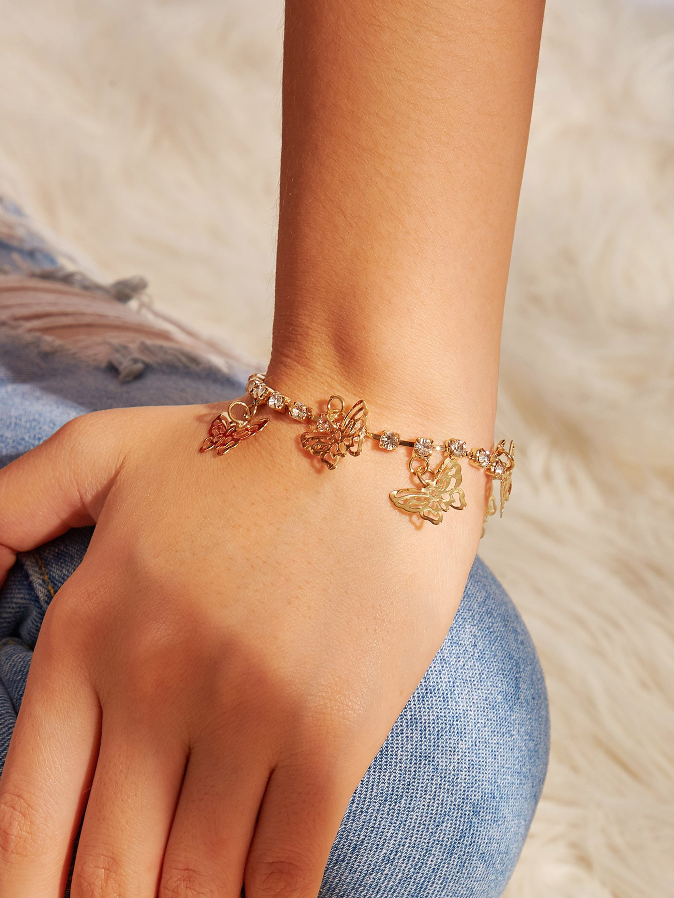 Фото - Браслет с бриллиантами и стразами 1шт от SheIn цвет золотые