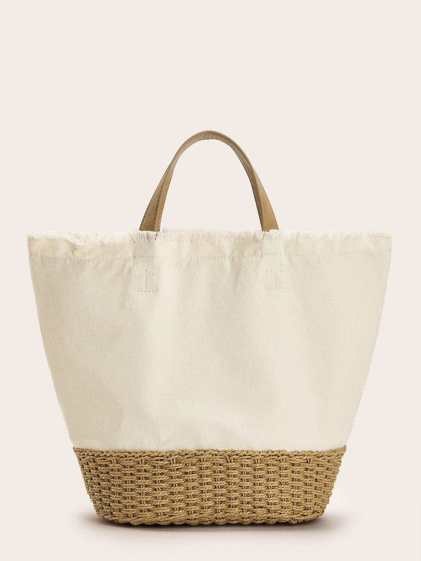 Большая сумка с изношенными панелями SheIn