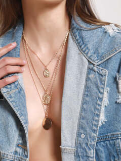Layered Gold Necklace With Coin Pendants