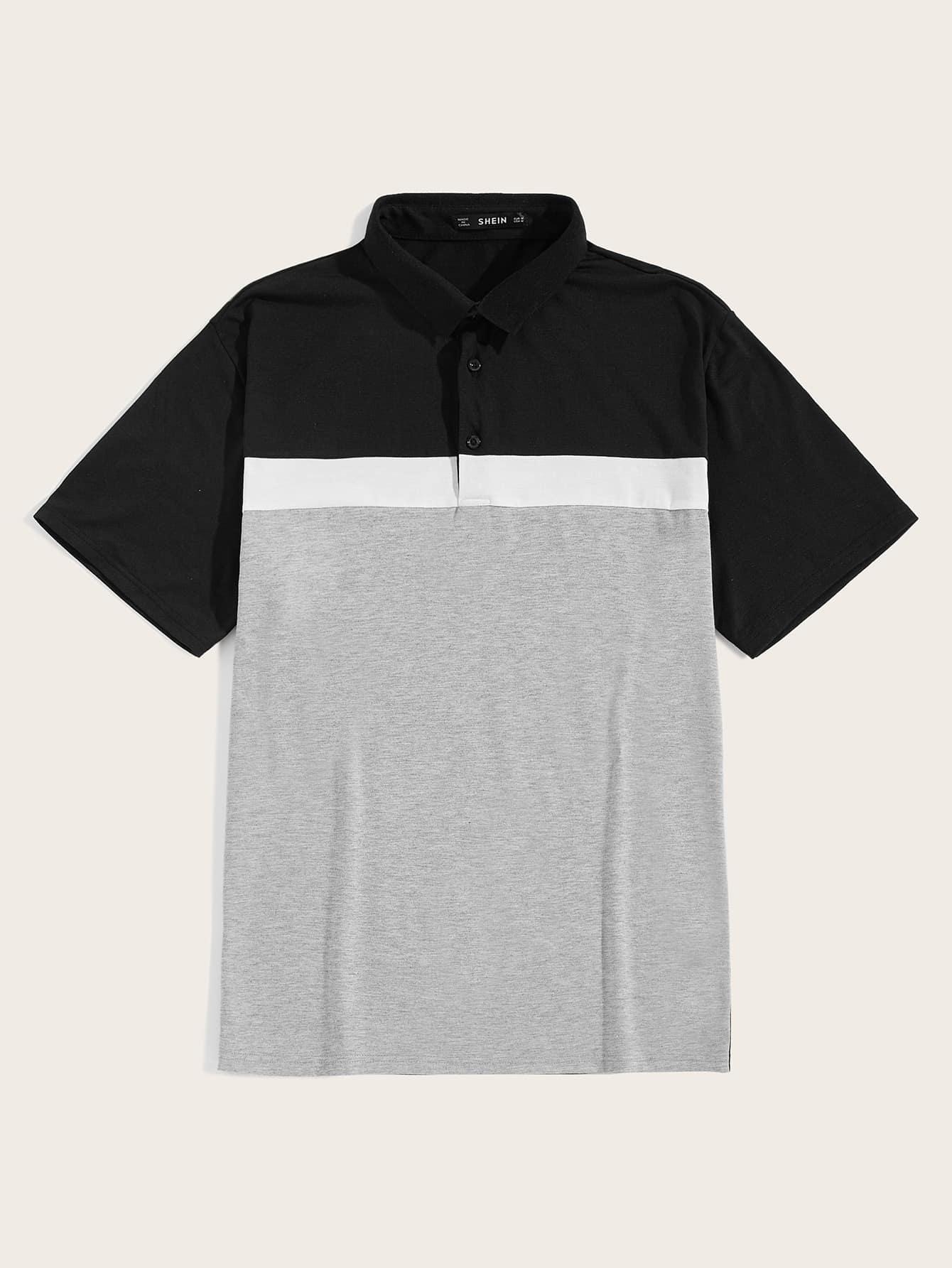 Фото - Мужская контрастная рубашка-поло от SheIn цвет многихцветный