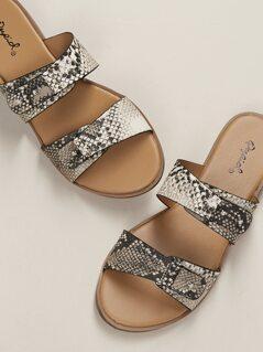 Notched Double Snakeskin Band Slide Sandals