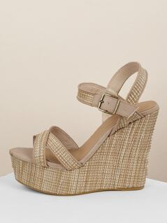 Criss Cross Band Raffia Platform Wedge Sandals