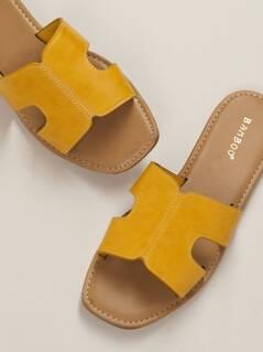 Dual Cut Out Flat Slide Sandals
