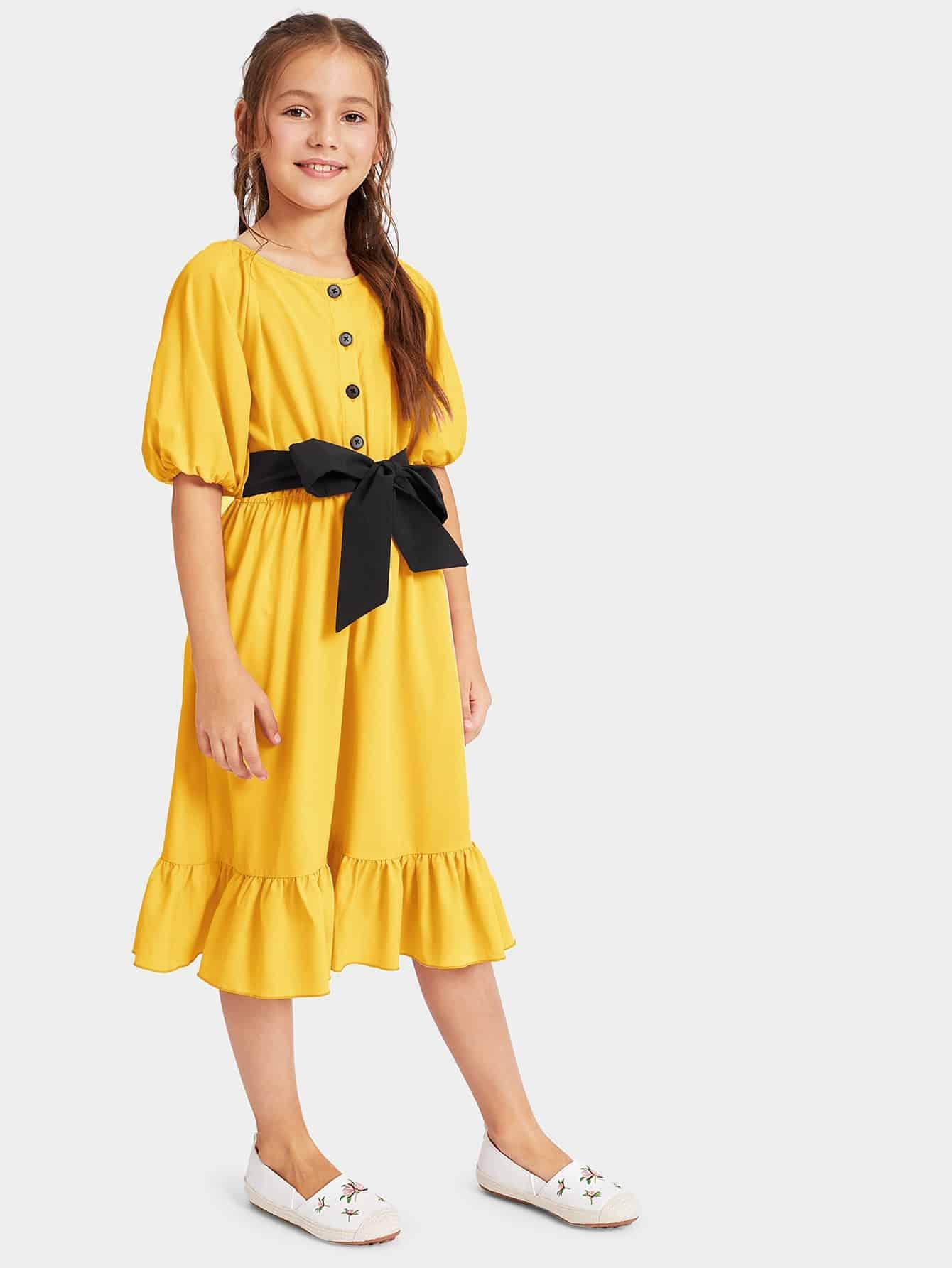 Фото - Платье с пуговицами и оборкой для девочек от SheIn цвет жёлтые