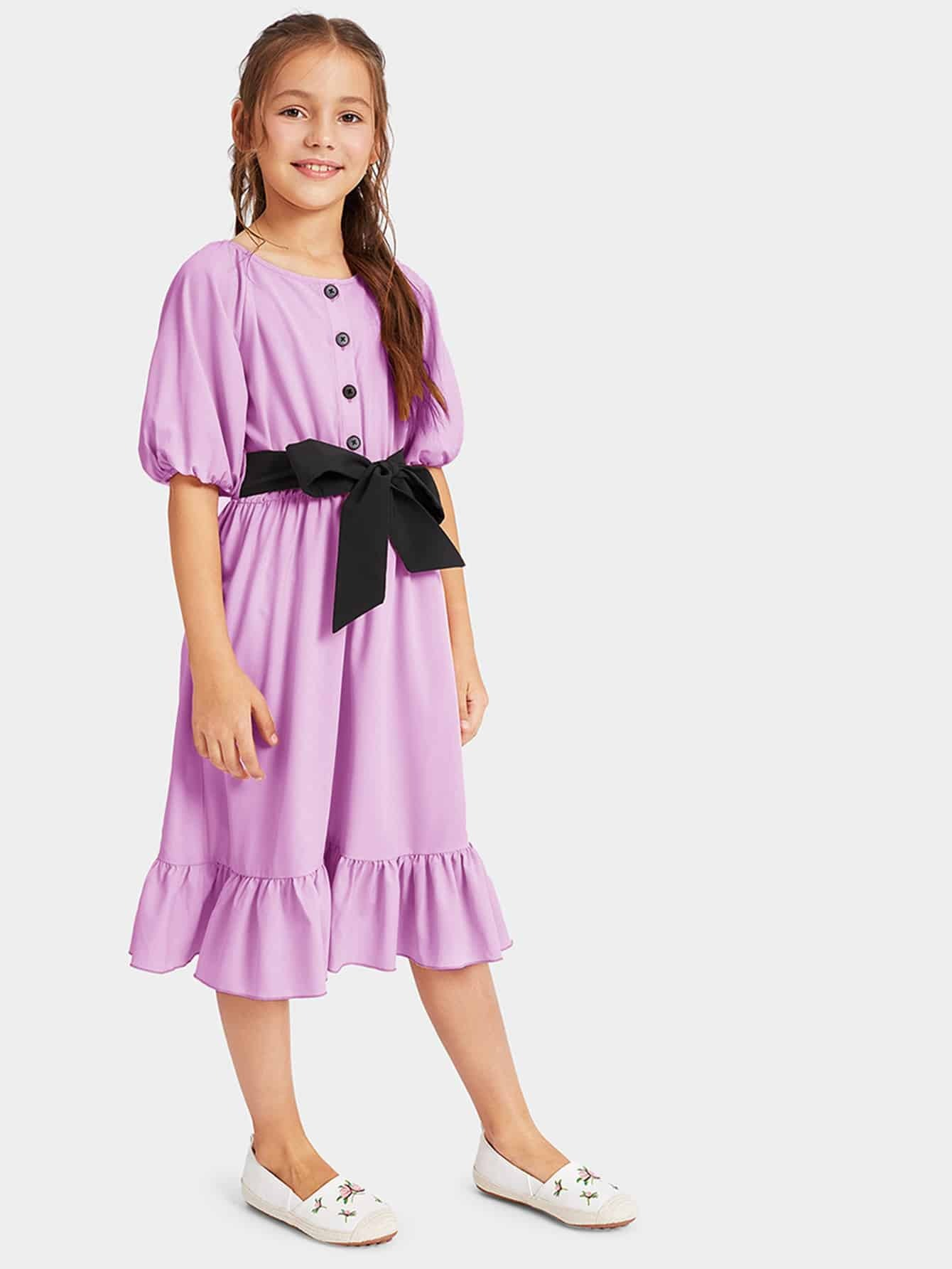 Фото - Платье на пуговицами с узлом для девочек от SheIn цвет фиолетовые