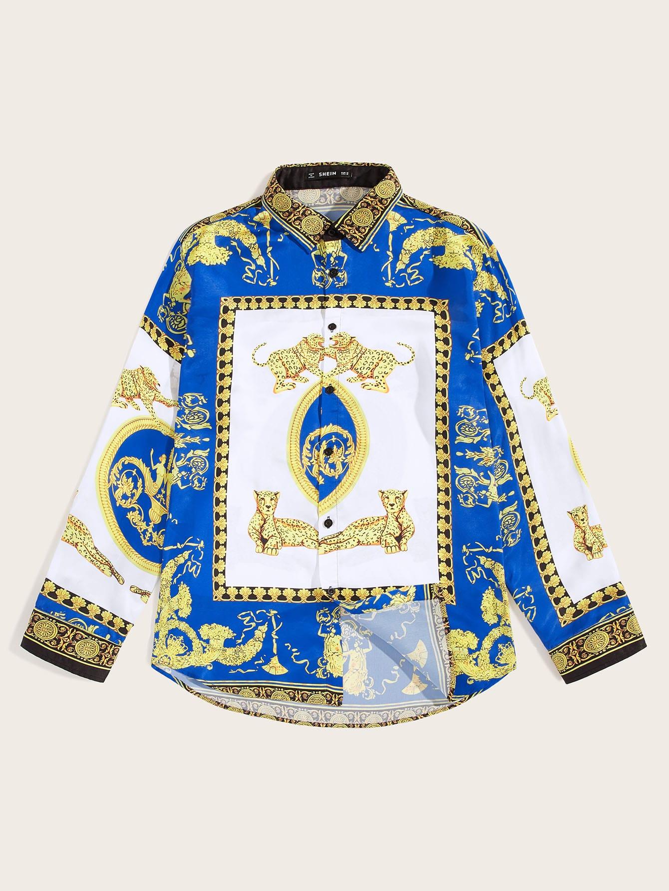 Фото - Мужская рубашка с принтом от SheIn цвет многоцветный