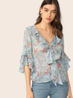 Knot Front Ruffle Trim Floral Top