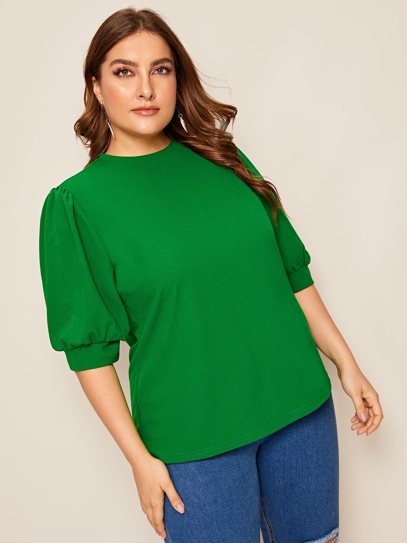 Фото - Топ размера плюс с оригинальным рукавом от SheIn цвет зелёные