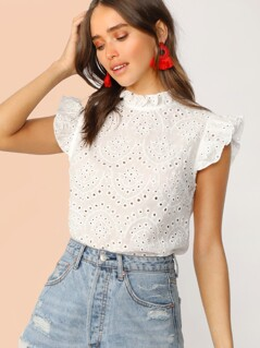 Mock-Neck Ruffle Trim Embroidery Eyelet Top