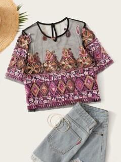 Paisley Aztec Print Sheer Mesh Crop Blouse