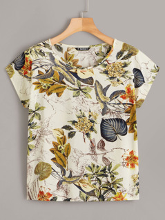 Tropical Print Cap Sleeve Top