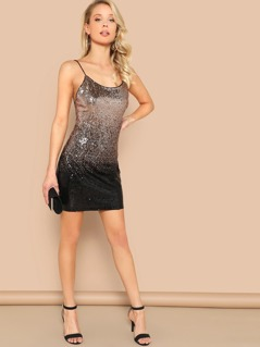 Ombre Sequins Backless Cami Dress