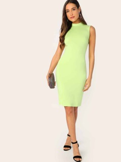 Mock-neck Form Fitted Neon Dress