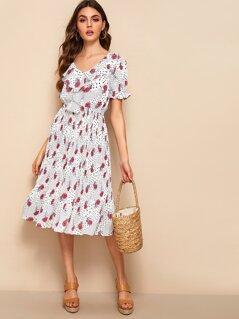 Mixed Print Ruffle Trim Dress