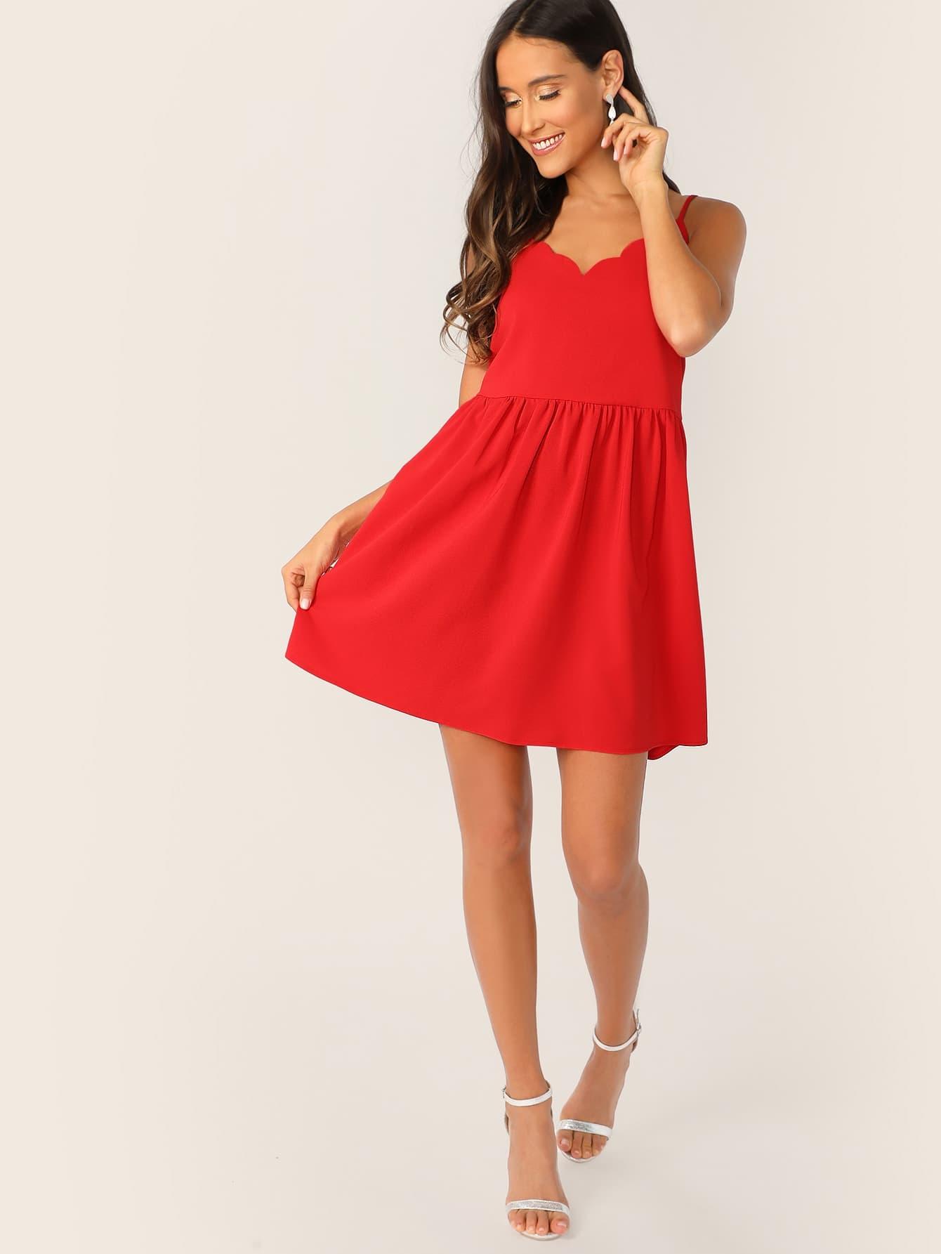 Фото - Однотонное платье с оригинальной отделкой от SheIn цвет красные